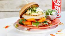 Fiskeburger med paprika og purre