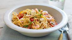 Spaghetti med reker og fetaost
