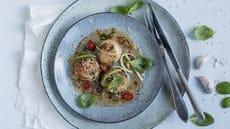 Pannestekte kamskjell med sweet chilisaus og sesamfrø