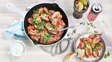 Spicy reker i panne med godt brød og aioli
