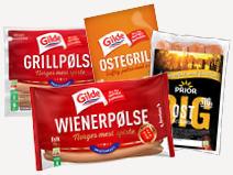 Et utvalg wiener- og grillpølser fra Prior og Gilde