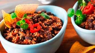Chili sin carne med bønner og jalapeño