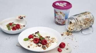 Hjemmelaget müsli med yoghurt og bær