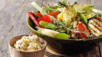 Grillede grønnsaker med fetaostkrem