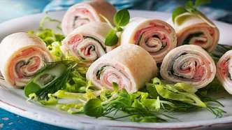 Tortillasnurrer med røkt skinke og koriander