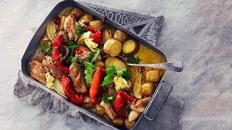 Kyllingform med paprika, potet og sitronsmør
