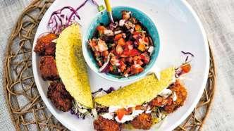 Luksustaco med fritert fisk, salsa og limekrem
