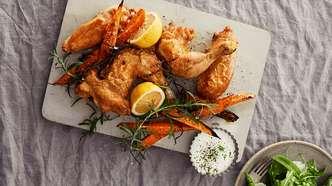 Ovnsbakt kylling med søtpoteter og limerømme