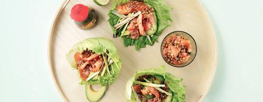 Sashimisalat med linser og avokado