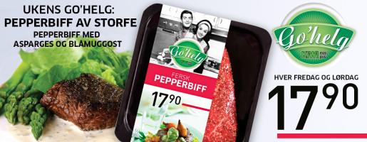 Go'helg Pepperbiff med asparges og blåmuggost