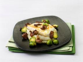 Stekt torsk med bacon og potetmos