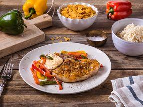 Svinekoteletter med cornflakes og stekt paprika