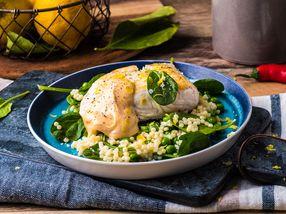 Ovnsbakt kveite med couscous salat