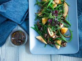 Aspargesbønner med fersken og balsamico