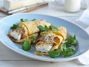 Fylte pannekaker med ost og skinke