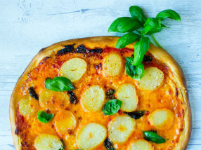 Pizza margerita med Asterix