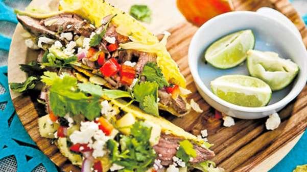Taco med biff og ananas-salsa