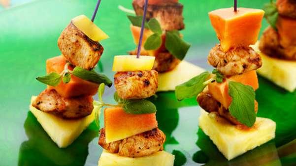 Fajitaspyd med kylling og fersk frukt