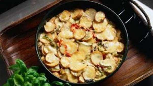 Potetgrateng med grønnsaker
