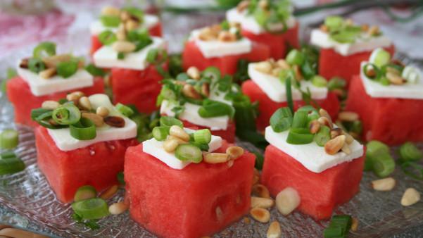 Tapas med vannmelon og fetaost