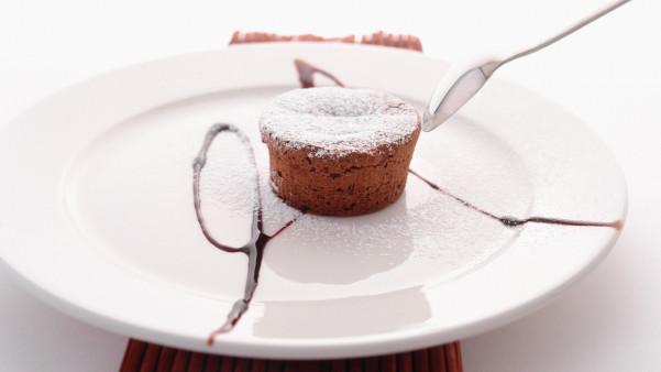 Fylt varm sjokoladekake