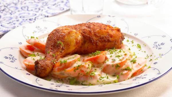 Grillede kyllinglår med stuede gulrøtter