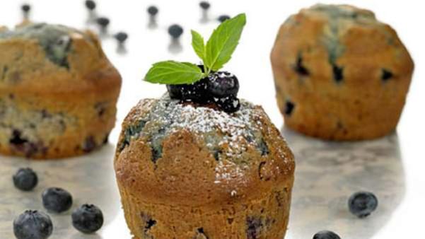 Blåbærmuffins med melisdryss
