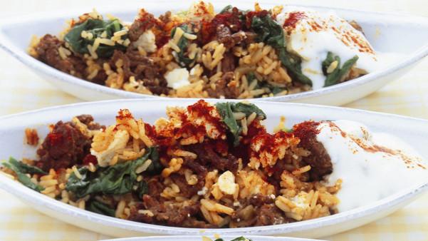 Kjøttdeig, spinat og fetaost