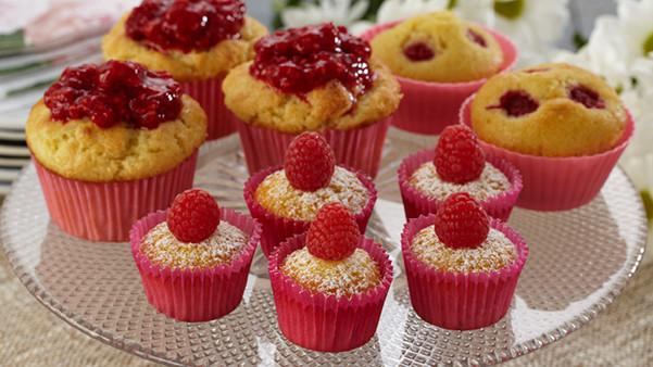 Cupcakes med bringebær