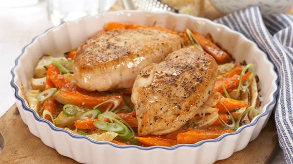 Ukens oppskrift: Kyllingfilet med gratinerte rotgrønnsaker