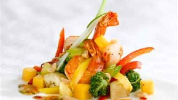 Scampi med koriander-chilisaus