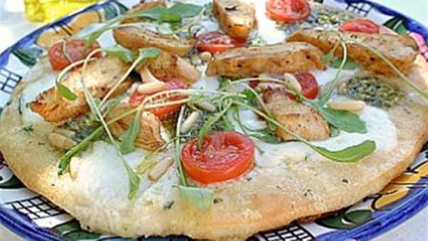 Kyllingpizza med mozzarella