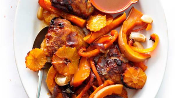 Ovnsbakt kylling med gresskar og appelsin