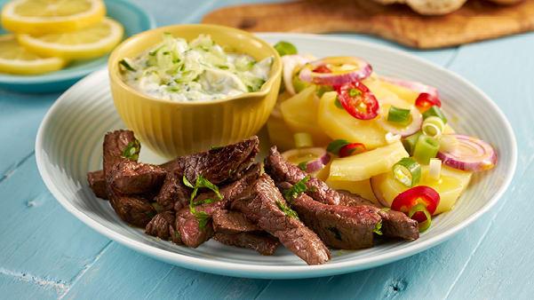 Biffstrimler med Tzatziki og greske poteter