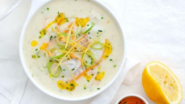 Vintersuppe med fisk og sitron