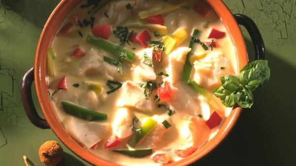 Fiskegryte med sopp og grønnsaker