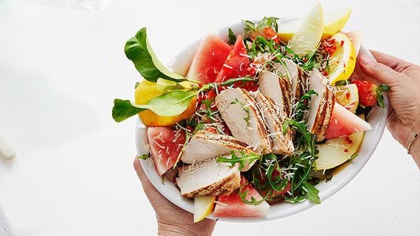Grillet ytrefilet av svin med melonsalat