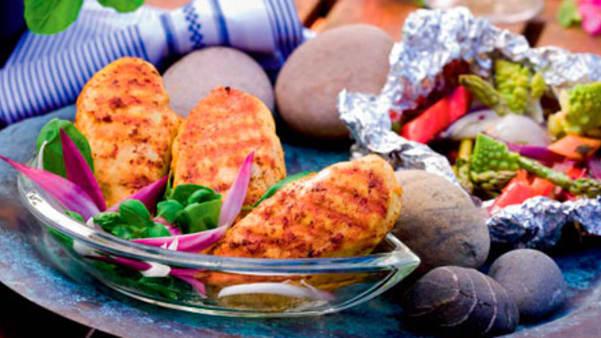 Urte- og sitrusmarinert svinestek med grønnsaker