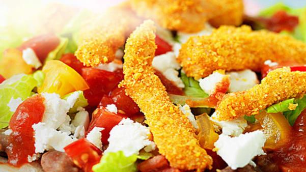 Tostadas med fetaost og sprø kylling
