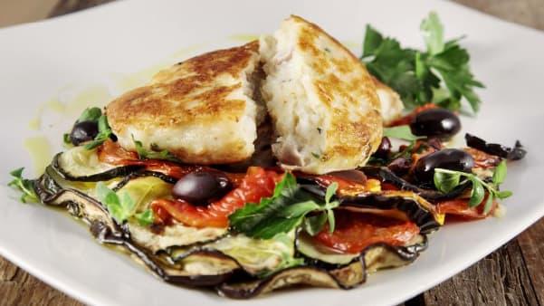 Grov Fiskeburger med torsk og hyse med ratatouille