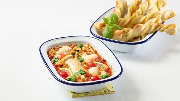 Ovnsbakt torsk med tomat og linser