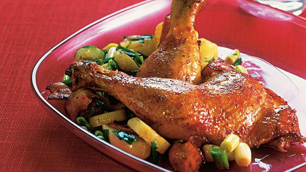 Grillede kyllinglår med lun potetsalat