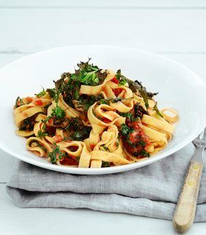 Spicy pasta med grønnkål