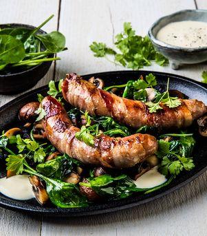 Jacobs Utvalgte pølse med bacon og bluecheesesaus