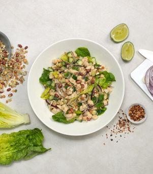 Kyllingsalat med bønner og linser