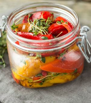 Grillede paprika i olivenolje