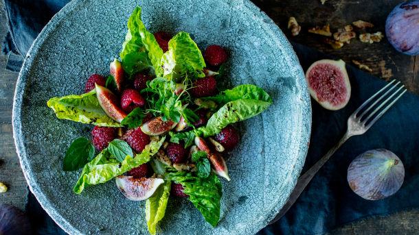Fiken- og bringebærsalat