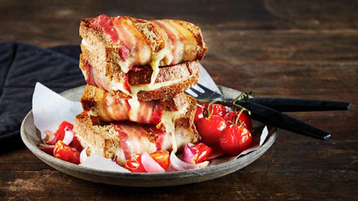 Grillet brød med bacon