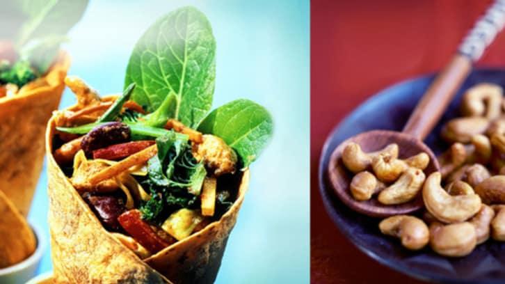 Kylling- og cashewwraps med bønner og blandede grønnsaker
