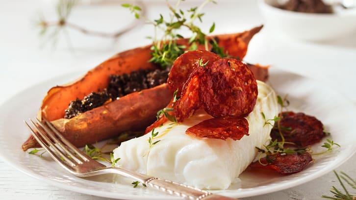Juletorsk med spansk pølse og søtpotet